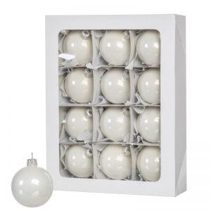 Boules de Noël en couleur blanc 12 pièces de 6 cm