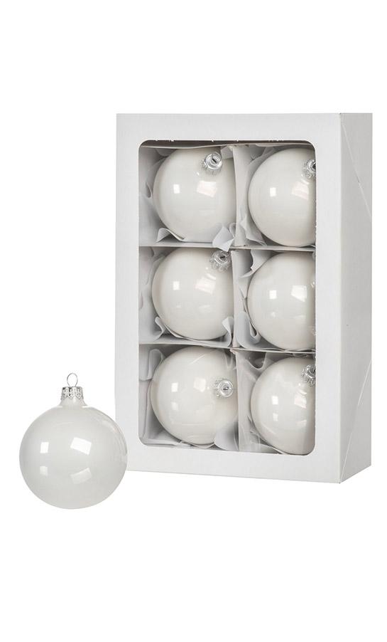 Boules de Noël en couleur blanc 6 pièces de 8 cm